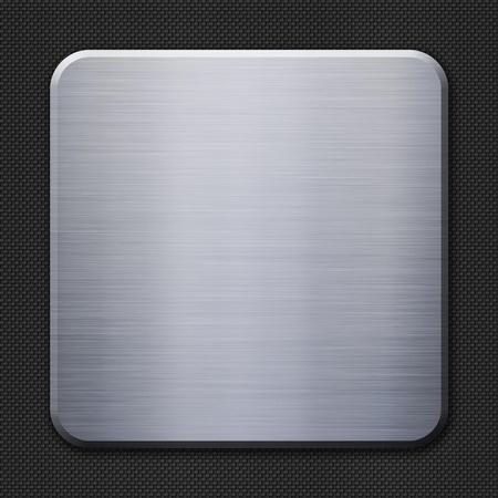 brushed aluminum: Brushed metal plate on carbon fiber background or texture