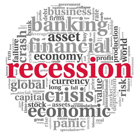banking problems: Recession and crisis concept in word tag cloud on white background