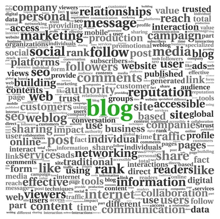 Blog and social media concept in word tag cloud on white background photo