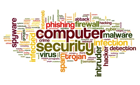 attacks: Computer security concept in word tag cloud on white background