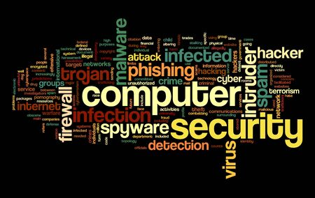 Computer security concept in word tag cloud on black background Stock Photo - 16663193