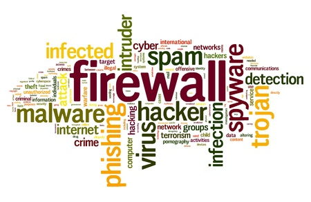 spyware: Firewall concept in word tag cloud on white background