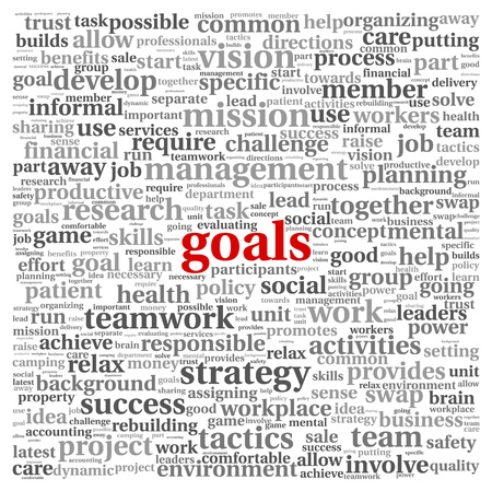 Goals in project and management concept in word tag cloud photo