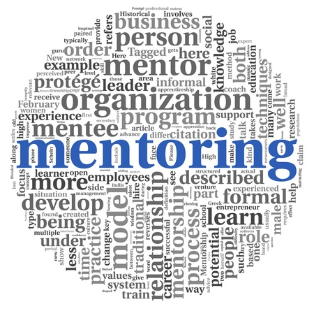 Mentoring related words concept in tag cloud on white Stock Photo