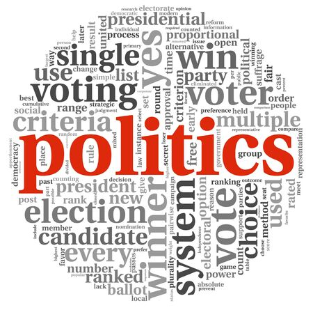 nomination: Politics and election concept in word tag cloud on white background Stock Photo