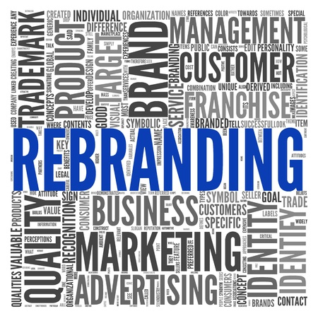 Rebranding and marketing concept in word tag cloud on white Stock Photo - 16663215