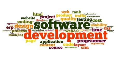 css: Software development concept in tag cloud on white background