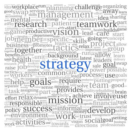 Strategy and management concept in word tag cloud on white background photo
