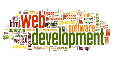 Web development concept in word tag cloud on white background Stock Photo