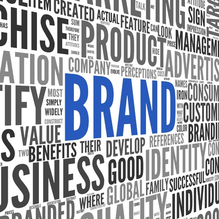 Brand related words in word tag cloud on isolated on white Stock Photo - 16828414