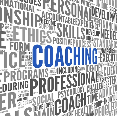 tagcloud: Coaching concept related words in tag cloud isolated on white Stock Photo