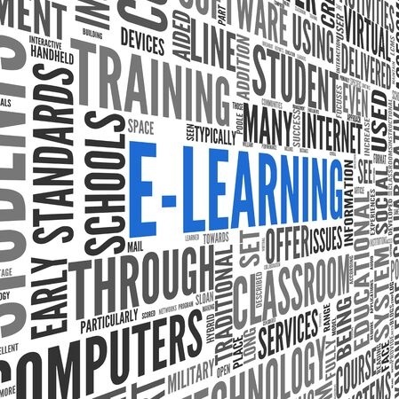 E-learning concept in word tag cloud on white photo
