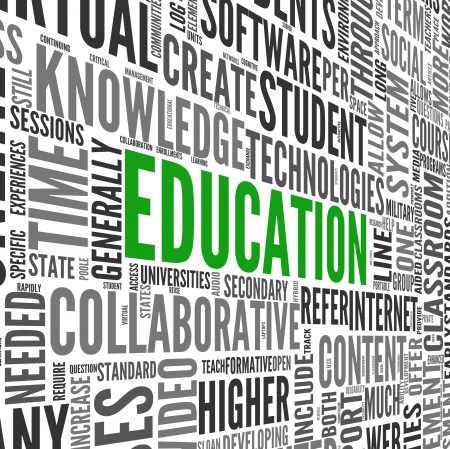 education concept: Education and learning concept words in tag cloud on 3d sphere
