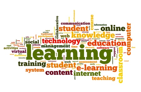 Learning concept in word cloud on white photo