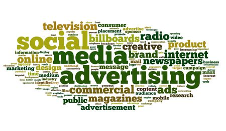 Social Media Advertising concept in tag cloud on white background Stock Photo - 16828413