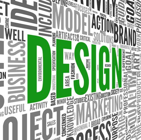 Design concept in tag cloud on white Stock Photo - 17123214