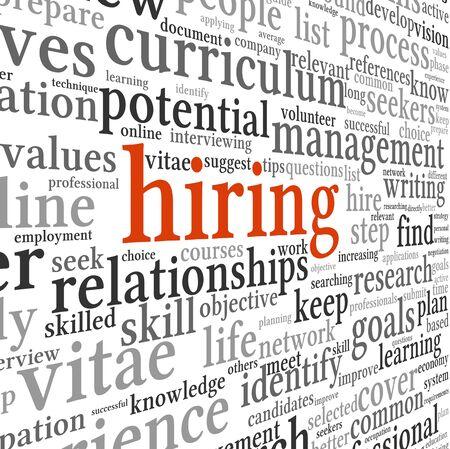 competencias laborales: Contrataci�n y b�squeda de empleo en concepto de nube de la palabra etiqueta en el fondo blanco Foto de archivo