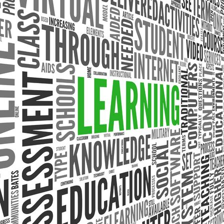 Learning and education concept in 3d word tag cloud on white Stock Photo - 17123213