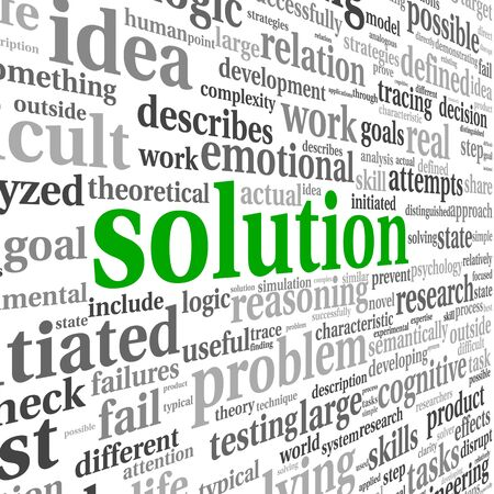Solution concept in word tag cloud on white background Stock Photo - 17123216