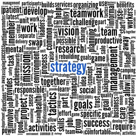 Strategy and teamwork concept in word tag cloud Stock Photo - 17123220