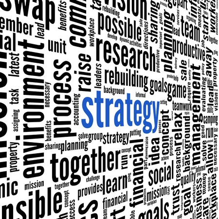 Strategy and teamwork concept in word tag cloud Stock Photo - 17123219
