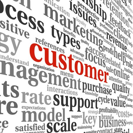 customer focus: Customer concept in word tag cloud on white