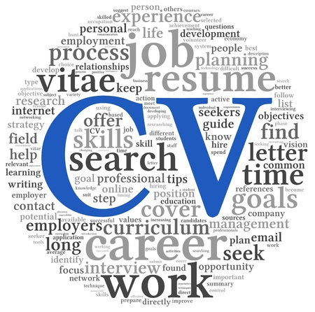 CV Curriculum vitae concept in word tag cloud on white background Stock Photo