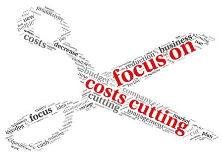 time money: Focus on costs cutting concept in word tag cloud