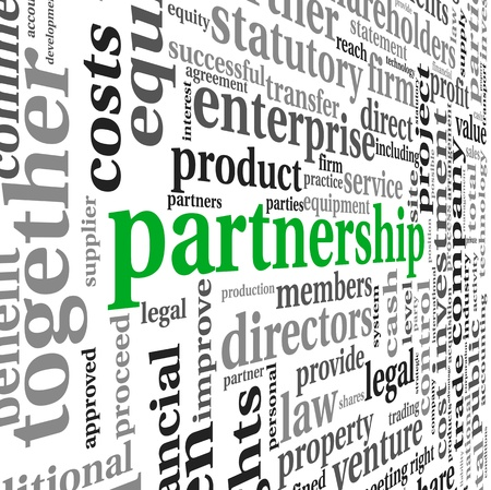 innovation word: Partnership and business concept in tag cloud on white