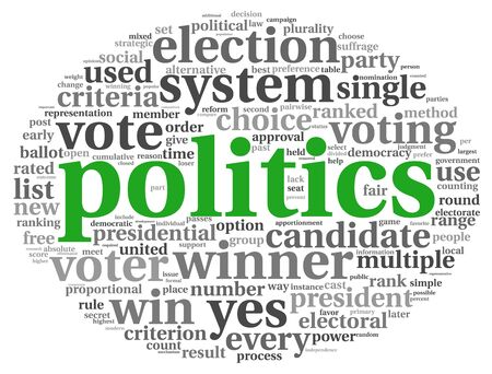 debate win: Politics and election concept in word tag cloud on white background Stock Photo