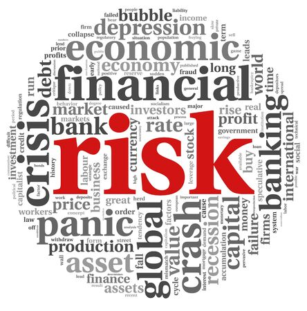 credit risk: Risk in economy and finance concept in word tag cloud on white background