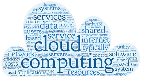 Cloud computing concept in word tag cloud on white in cloud shape Stock Photo - 17601508