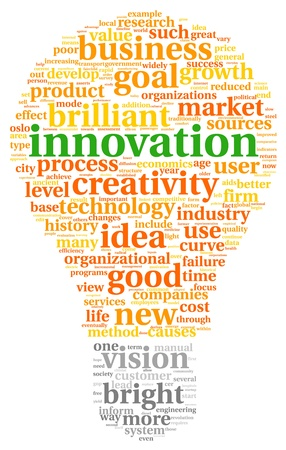 product innovation: Innovation and technology concept related words in tag cloud inside bulb shape Stock Photo