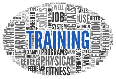 Training and education related words concept in tag cloud photo