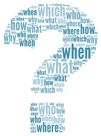 know how: Questioms concept in question mark of word tag cloud