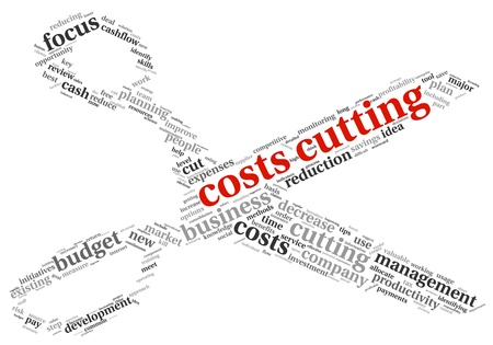 price reduction: Focus on costs cutting concept in word tag cloud