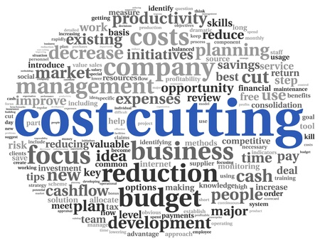 time deficit: Focus on costs cutting concept in word tag cloud