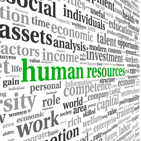 Human resources concept in tag cloud on white background Stock Photo - 17746072