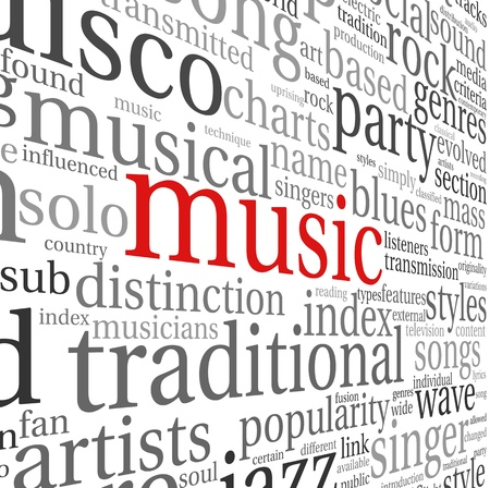 genres: Music styles concept in word tag cloud on white
