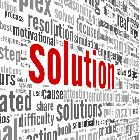 Solution concept in word tag cloud on white background Stock Photo - 17746067