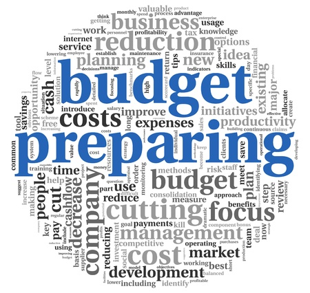 time deficit: Budget preparing in word tag cloud on white background