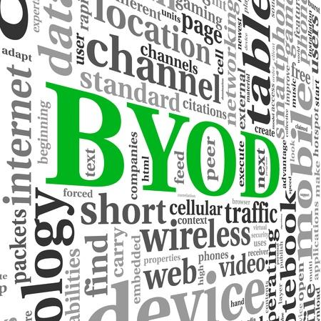 apporter: BYOD - apportez votre propre appareil notion de nuage Banque d'images