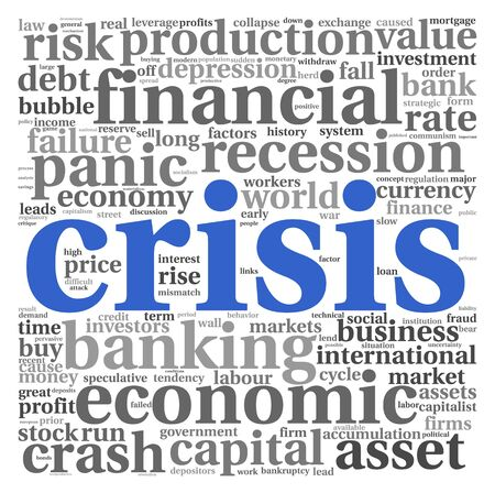 Crisis concept in word tag cloud on white background photo