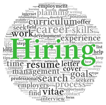 Hiring and job search concept in word tag cloud on white background Stock Photo - 17983006