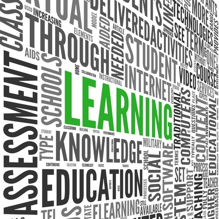 teaching: Learning and education concept in 3d word tag cloud on white