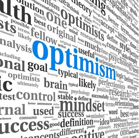 optimismo: Concepto Optimismo en nube de la palabra etiqueta aislados en blanco Foto de archivo