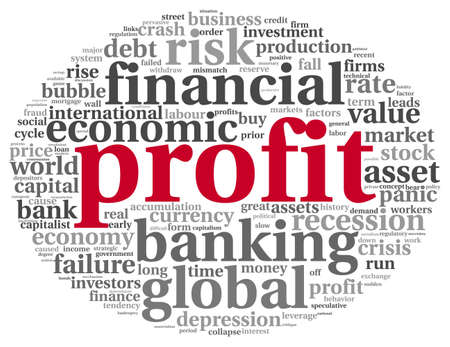 gain: Profit and financial risk concept in word tag cloud on white background Stock Photo