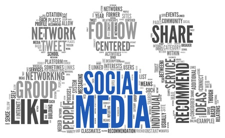 Social media concept in word tag cloud on white background Stock Photo