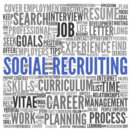 Social recruiting concept in word tag cloud on white background photo