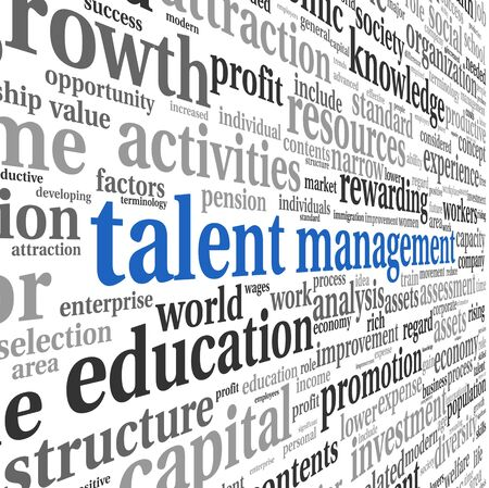 change of direction: Talent management concept in word tag cloud on white background Stock Photo